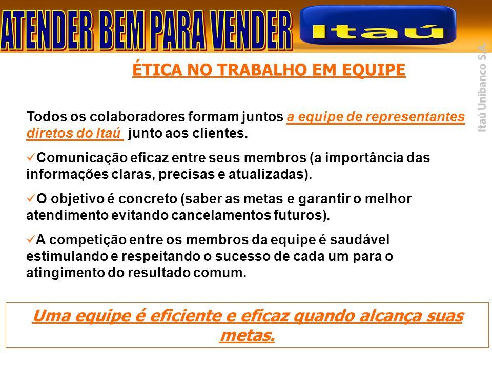 Todos os colaboradores formam juntos a equipe de representantes diretos do Itaú junto aos clientes. Comunicação eficaz entre seus membros (a importânc