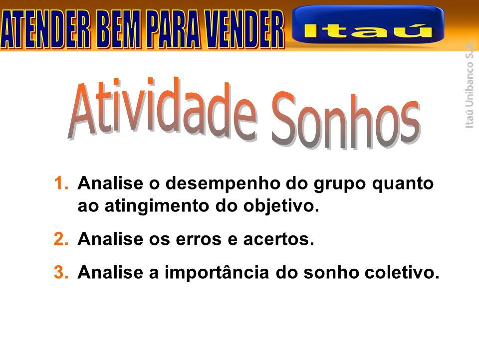 1.Analise o desempenho do grupo quanto ao atingimento do objetivo. 2.Analise os erros e acertos. 3.Analise a importância do sonho coletivo.