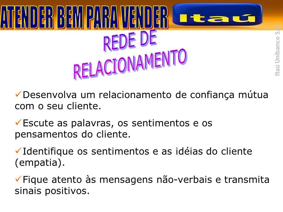 Desenvolva um relacionamento de confiança mútua com o seu cliente. Escute as palavras, os sentimentos e os pensamentos do cliente. Identifique os sent