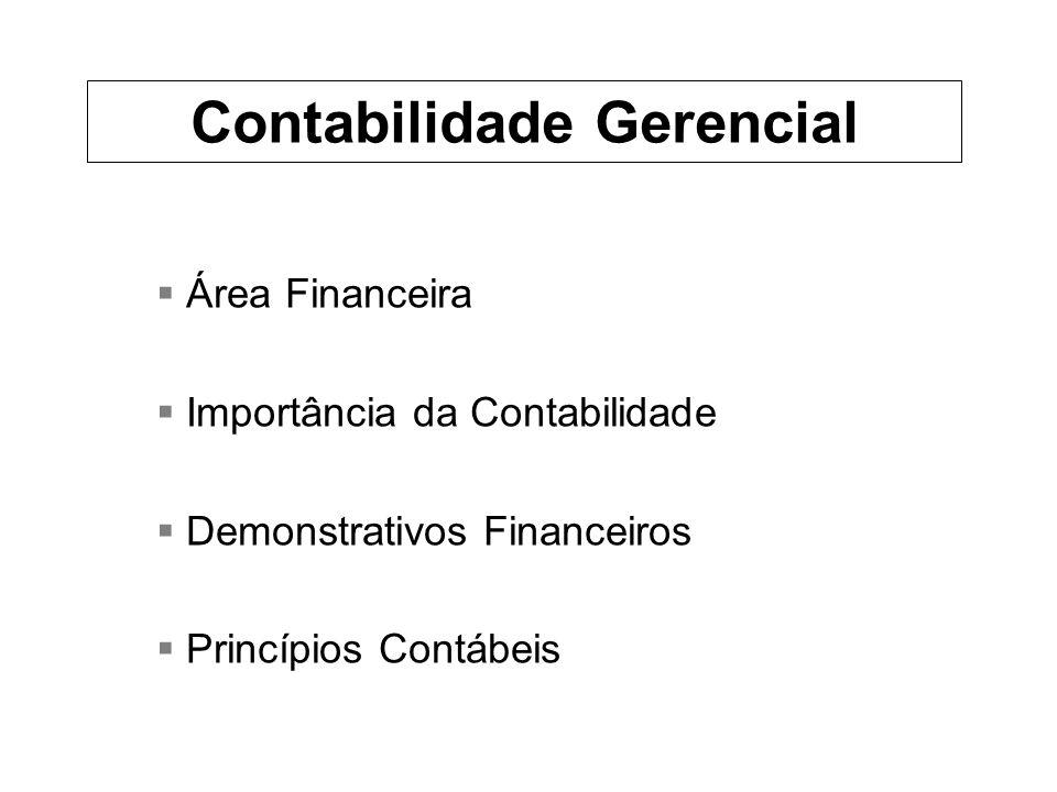 Área Financeira Importância da Contabilidade Demonstrativos Financeiros Princípios Contábeis Contabilidade Gerencial