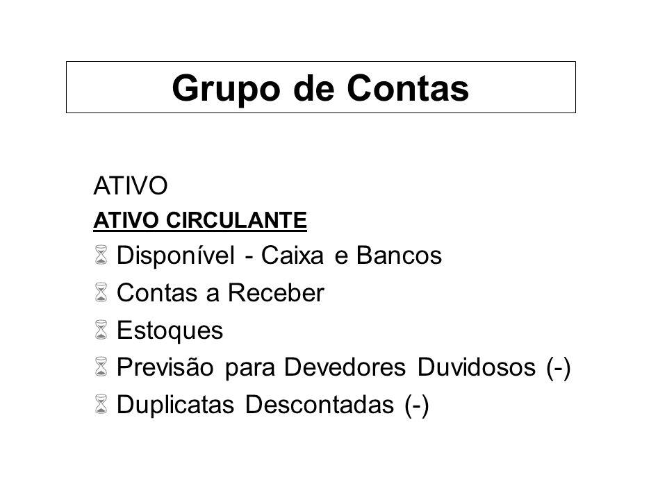 ATIVO ATIVO CIRCULANTE 6 Disponível - Caixa e Bancos 6 Contas a Receber 6 Estoques 6 Previsão para Devedores Duvidosos (-) 6 Duplicatas Descontadas (-) Grupo de Contas
