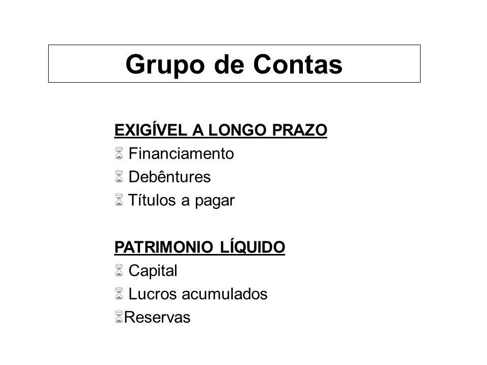 EXIGÍVEL A LONGO PRAZO 6 Financiamento 6 Debêntures 6 Títulos a pagar PATRIMONIO LÍQUIDO 6 Capital 6 Lucros acumulados 6Reservas Grupo de Contas