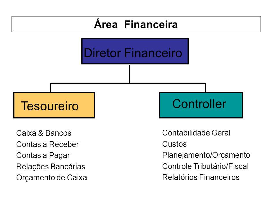 Área Financeira Diretor Financeiro Tesoureiro Controller Caixa & Bancos Contas a Receber Contas a Pagar Relações Bancárias Orçamento de Caixa Contabilidade Geral Custos Planejamento/Orçamento Controle Tributário/Fiscal Relatórios Financeiros