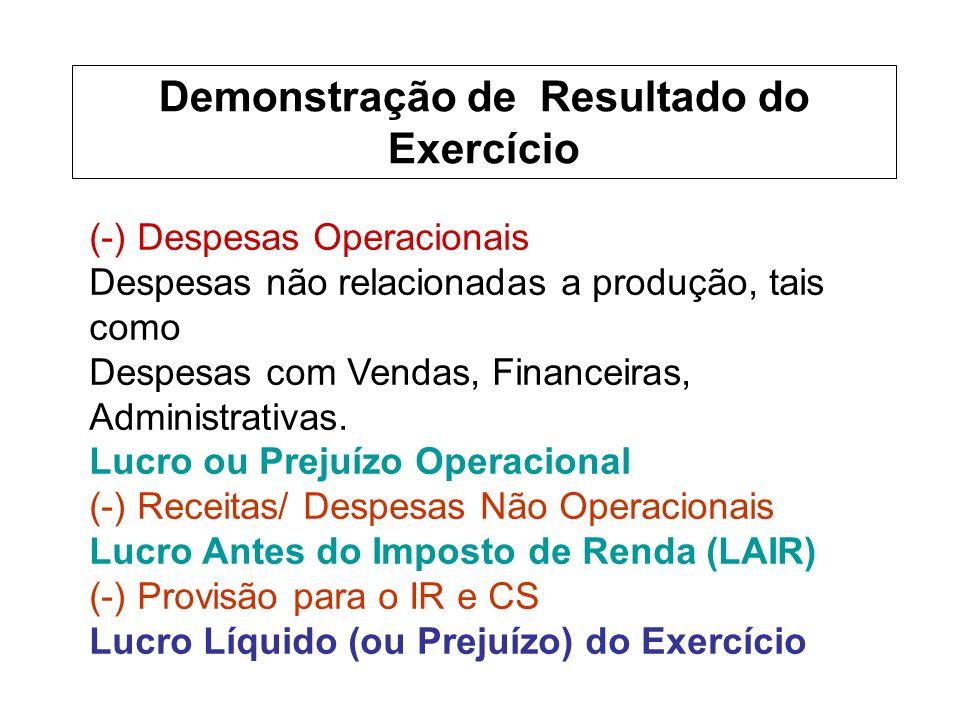 (-) Despesas Operacionais Despesas não relacionadas a produção, tais como Despesas com Vendas, Financeiras, Administrativas.