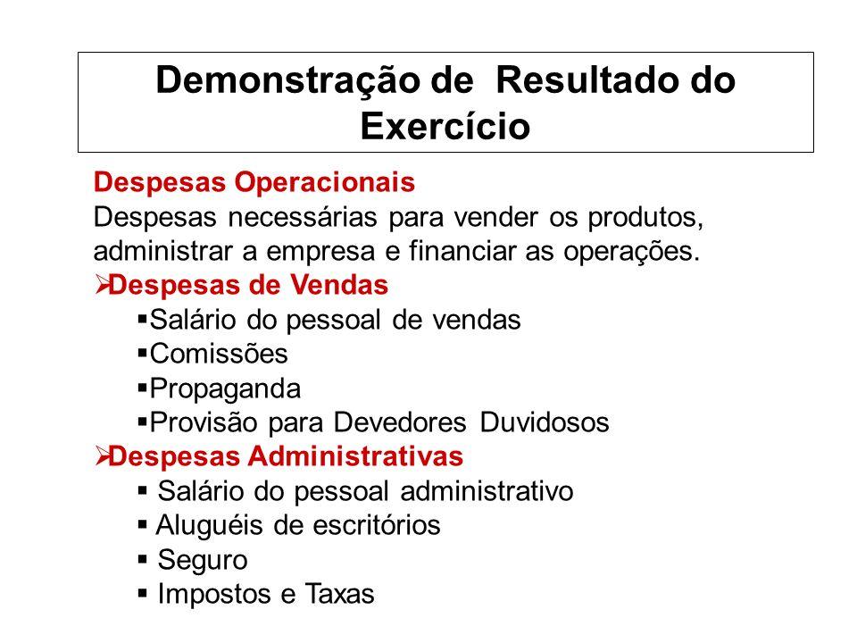 Despesas Operacionais Despesas necessárias para vender os produtos, administrar a empresa e financiar as operações.