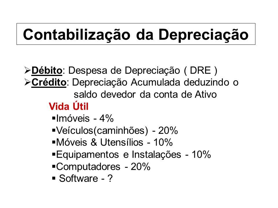 Débito: Despesa de Depreciação ( DRE ) Crédito: Depreciação Acumulada deduzindo o saldo devedor da conta de Ativo Vida Útil Imóveis - 4% Veículos(caminhões) - 20% Móveis & Utensílios - 10% Equipamentos e Instalações - 10% Computadores - 20% Software - .