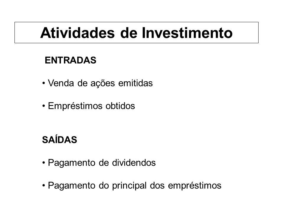 ENTRADAS Venda de ações emitidas Empréstimos obtidos SAÍDAS Pagamento de dividendos Pagamento do principal dos empréstimos Atividades de Investimento
