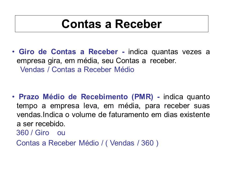 Giro de Contas a Receber - indica quantas vezes a empresa gira, em média, seu Contas a receber.