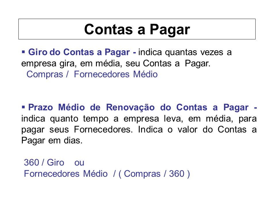 Giro do Contas a Pagar - indica quantas vezes a empresa gira, em média, seu Contas a Pagar.