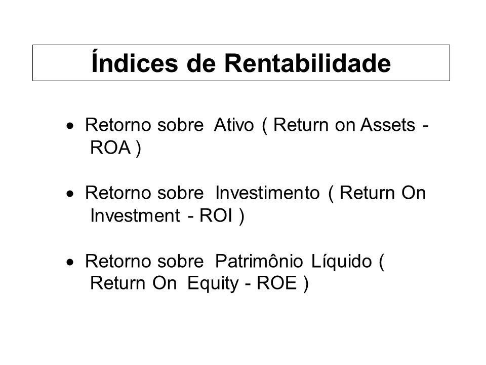 Retorno sobre Ativo ( Return on Assets - ROA ) Retorno sobre Investimento ( Return On Investment - ROI ) Retorno sobre Patrimônio Líquido ( Return On Equity - ROE ) Índices de Rentabilidade