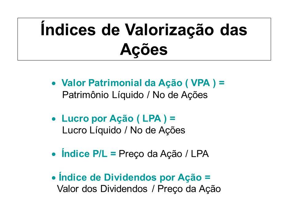 Valor Patrimonial da Ação ( VPA ) = Patrimônio Líquido / No de Ações Lucro por Ação ( LPA ) = Lucro Líquido / No de Ações Índice P/L = Preço da Ação / LPA Índice de Dividendos por Ação = Valor dos Dividendos / Preço da Ação Índices de Valorização das Ações