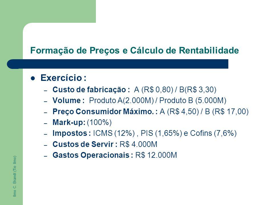 Formação de Preços e Cálculo de Rentabilidade Exercício : – Custo de fabricação : A (R$ 0,80) / B(R$ 3,30) – Volume : Produto A(2.000M) / Produto B (5
