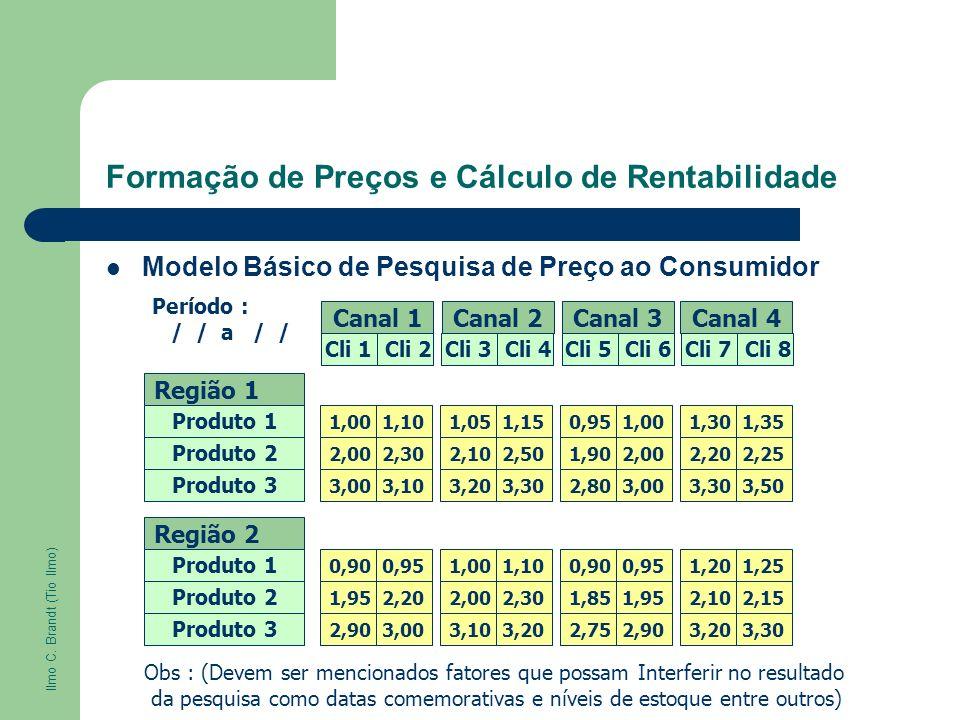 Formação de Preços e Cálculo de Rentabilidade Modelo Básico de Pesquisa de Preço ao Consumidor Canal 1 Cli 1 Cli 2 Região 1 Produto 1 Região 2 Canal 2