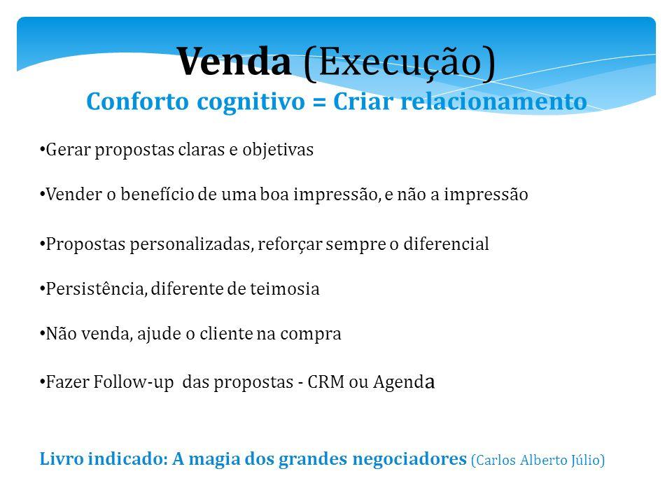 Venda (Execução) Conforto cognitivo = Criar relacionamento Gerar propostas claras e objetivas Vender o benefício de uma boa impressão, e não a impress