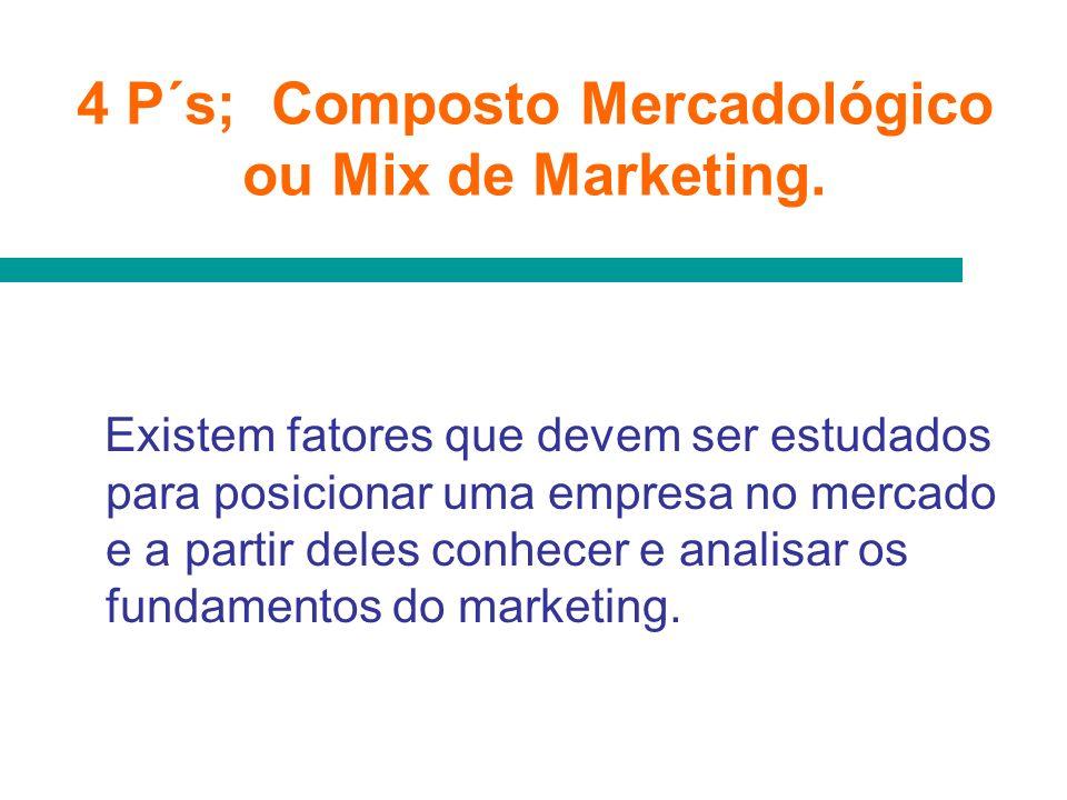 4 P´s; Composto Mercadológico ou Mix de Marketing. Existem fatores que devem ser estudados para posicionar uma empresa no mercado e a partir deles con