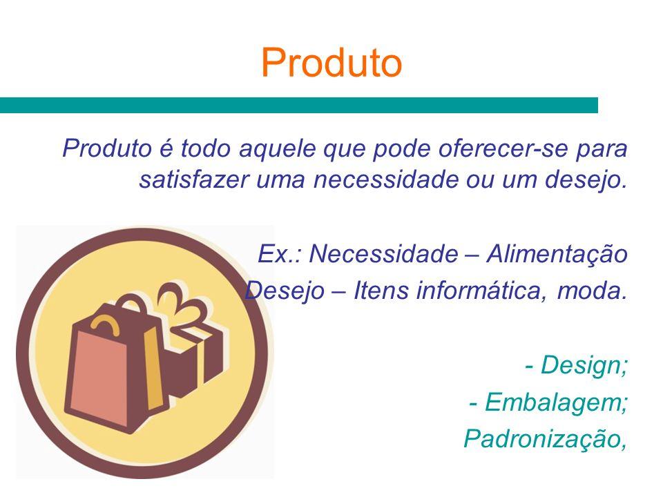 Produto Produto é todo aquele que pode oferecer-se para satisfazer uma necessidade ou um desejo. Ex.: Necessidade – Alimentação Desejo – Itens informá