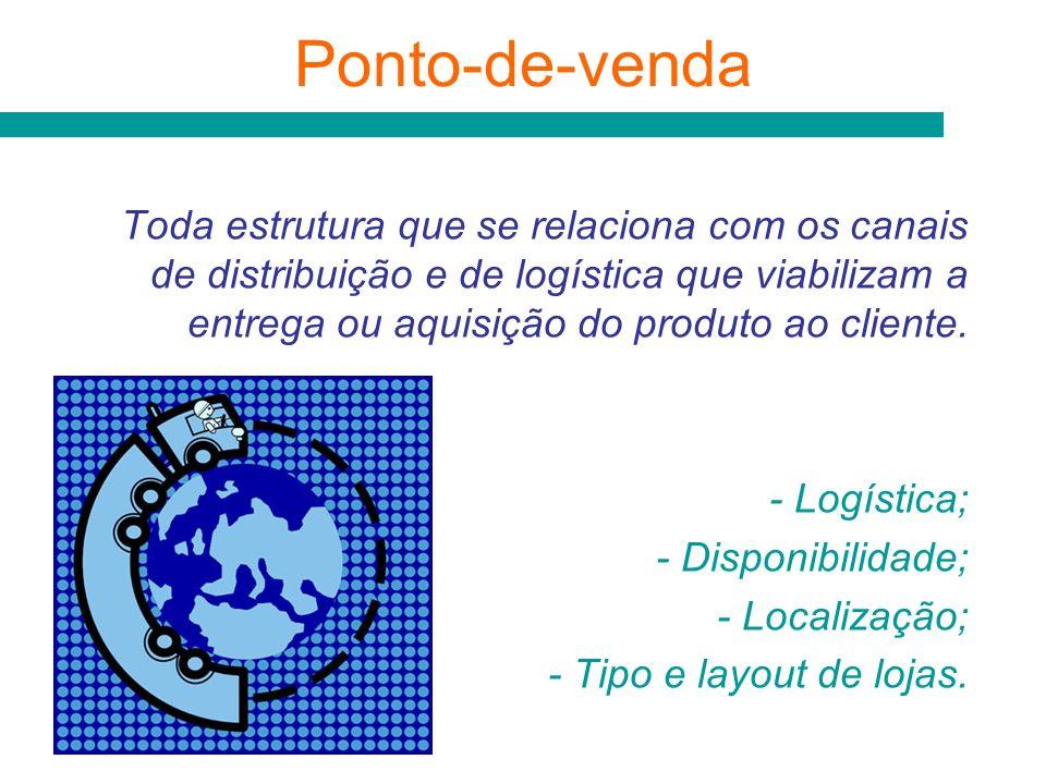 Ponto-de-venda Toda estrutura que se relaciona com os canais de distribuição e de logística que viabilizam a entrega ou aquisição do produto ao client