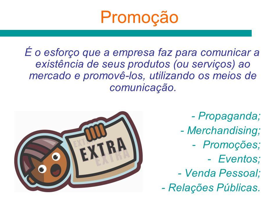 Promoção É o esforço que a empresa faz para comunicar a existência de seus produtos (ou serviços) ao mercado e promovê-los, utilizando os meios de com