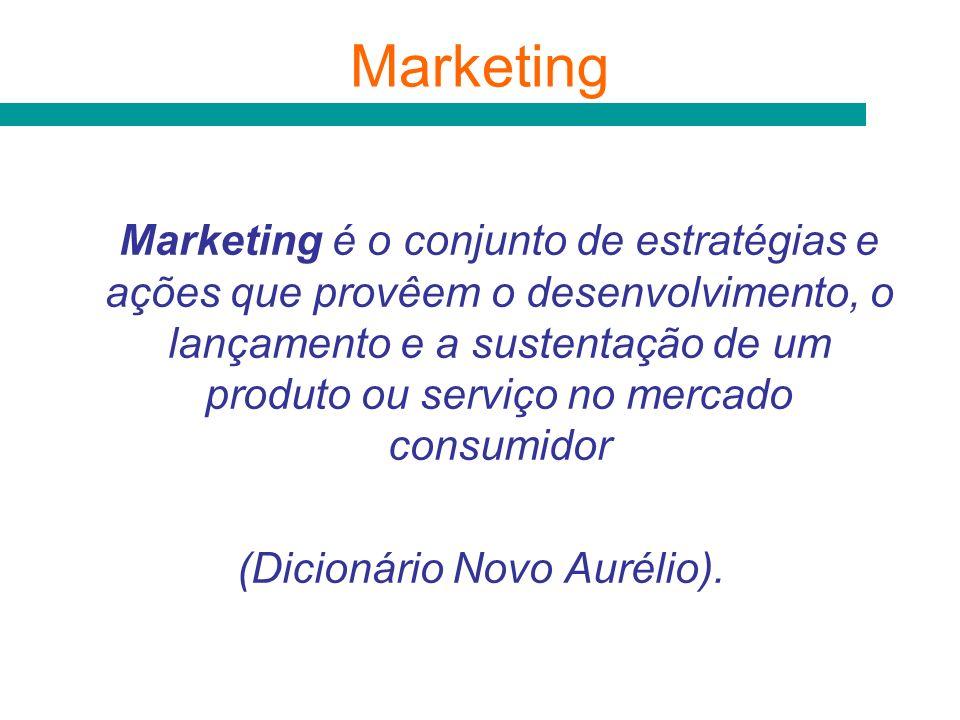 Marketing é o conjunto de estratégias e ações que provêem o desenvolvimento, o lançamento e a sustentação de um produto ou serviço no mercado consumid