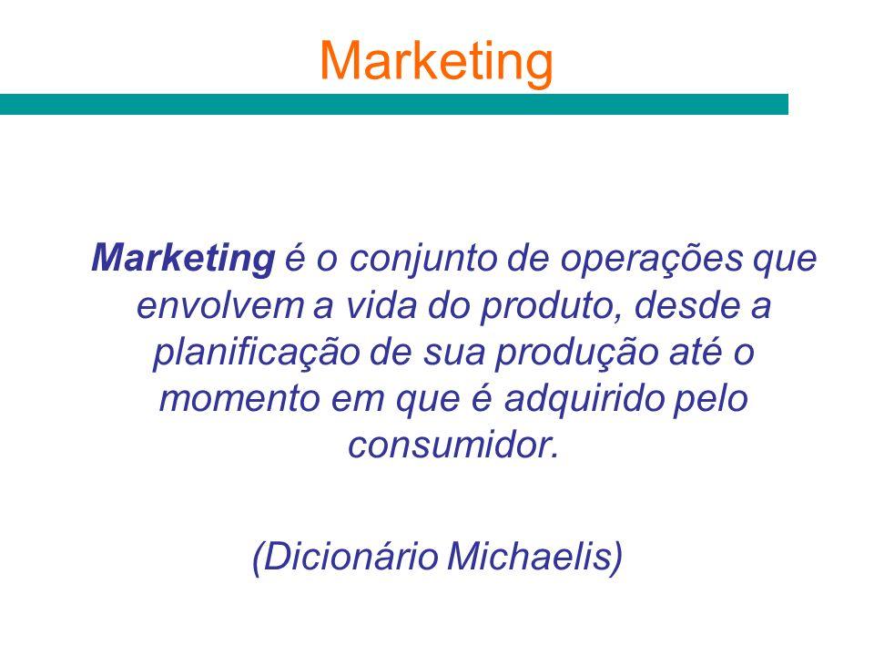 Marketing é o conjunto de operações que envolvem a vida do produto, desde a planificação de sua produção até o momento em que é adquirido pelo consumi