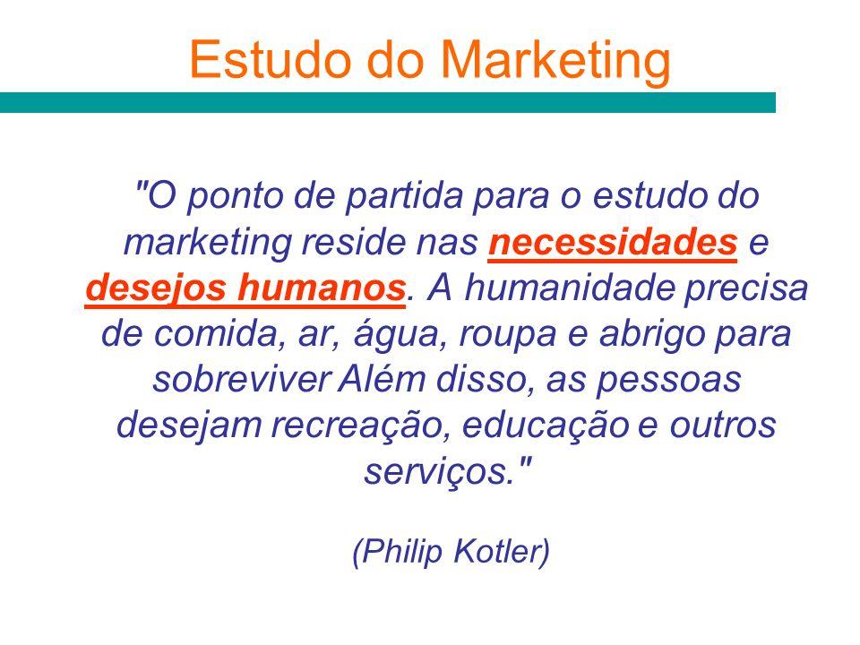 O ponto de partida para o estudo do marketing reside nas necessidades e desejos humanos.
