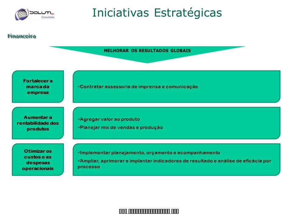 www. soluticonsultoria. com Iniciativas Estratégicas Financeira Fortalecer a marca da empresa Aumentar a rentabilidade dos produtos Otimizar os custos