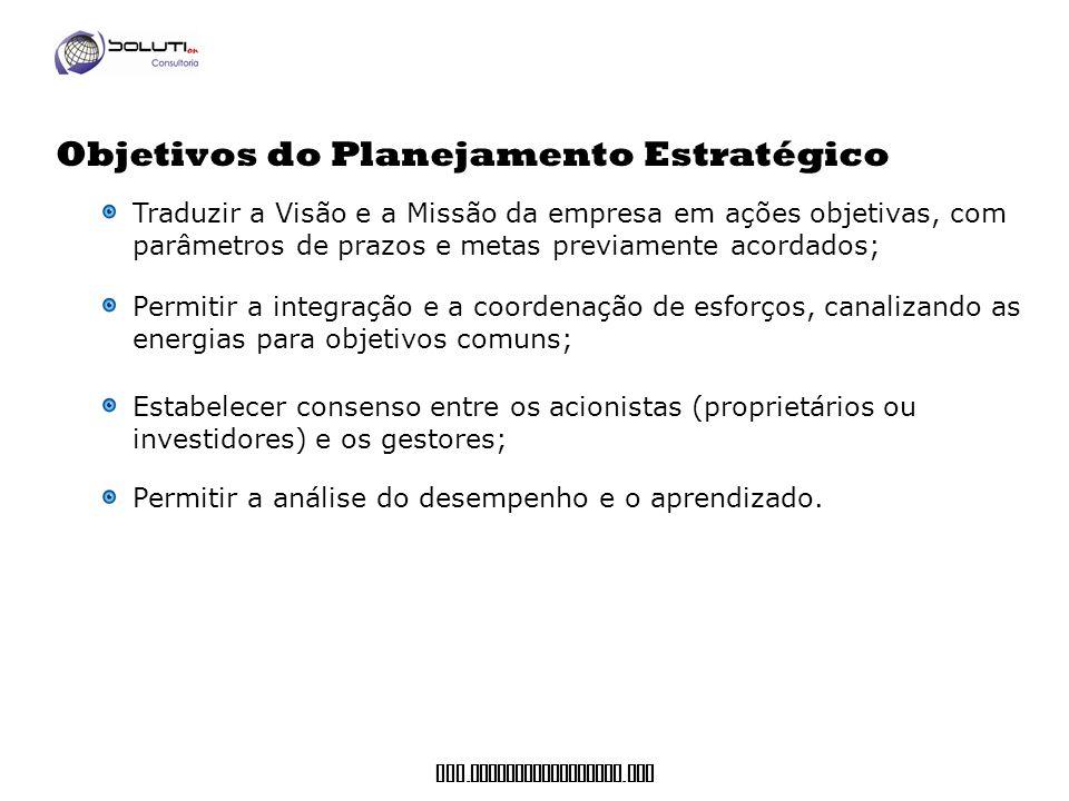 www. soluticonsultoria. com Objetivos do Planejamento Estratégico Traduzir a Visão e a Missão da empresa em ações objetivas, com parâmetros de prazos