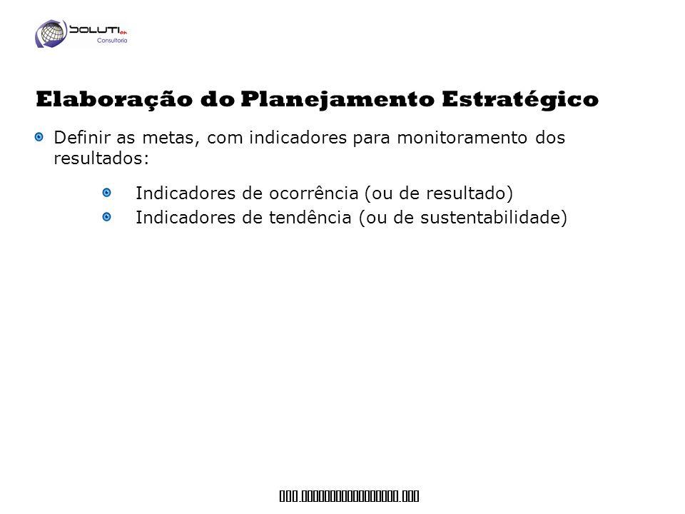 www. soluticonsultoria. com Definir as metas, com indicadores para monitoramento dos resultados: Indicadores de ocorrência (ou de resultado) Indicador