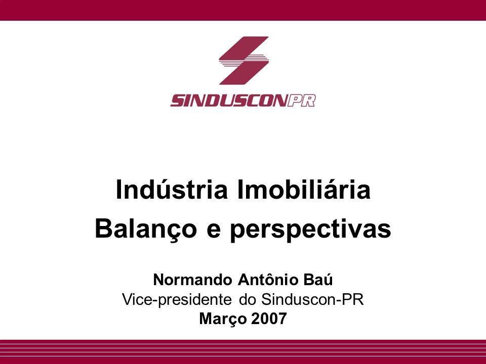 Indústria Imobiliária Balanço e perspectivas Normando Antônio Baú Vice-presidente do Sinduscon-PR Março 2007