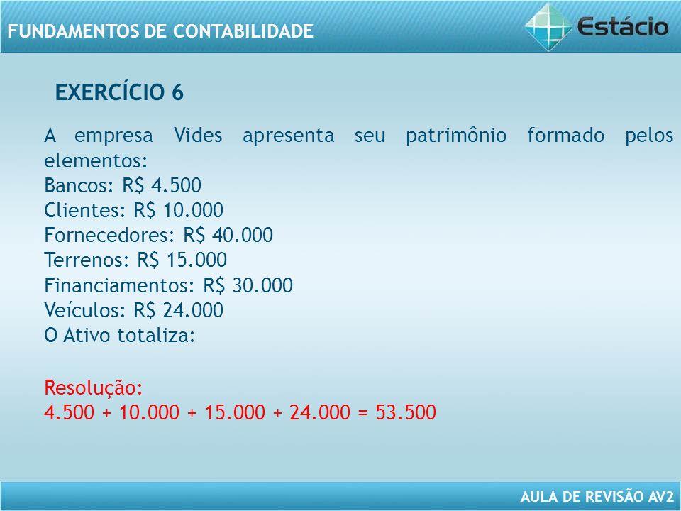 AULA DE REVISÃO AV2 FUNDAMENTOS DE CONTABILIDADE A empresa Vides apresenta seu patrimônio formado pelos elementos: Bancos: R$ 4.500 Clientes: R$ 10.00