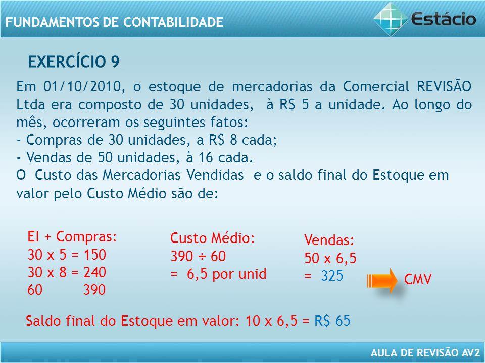 AULA DE REVISÃO AV2 FUNDAMENTOS DE CONTABILIDADE Em 01/10/2010, o estoque de mercadorias da Comercial REVISÃO Ltda era composto de 30 unidades, à R$ 5 a unidade.