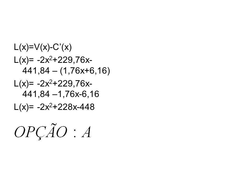 Solução: Custo em função de x: C(x)=2x+7 Como o custo caiu 12%100% - 12%= =88%=0,88. Logo, o novo custo C(x) é: C(x)=0,88.(2x+7) C(x)=1,76x+6,16. Como