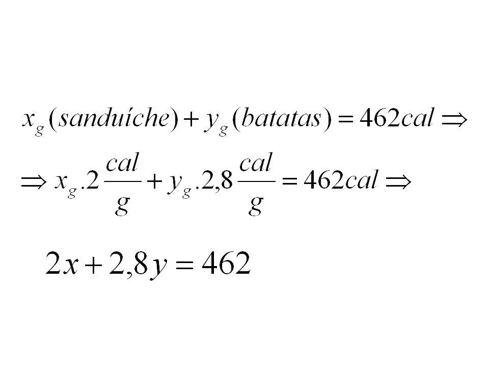 Solução: Batatas: 200g560 cal 1g560 cal:200=2,8 cal Sanduíche: 250g 500cal 1g 500cal:250=2,0 cal CUIDADO: O enunciado fornece, nessa ordem, as caloria