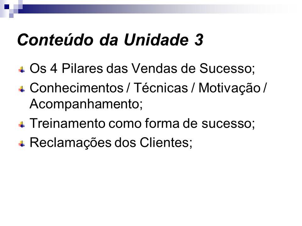 Conteúdo da Unidade 3 Os 4 Pilares das Vendas de Sucesso; Conhecimentos / Técnicas / Motivação / Acompanhamento; Treinamento como forma de sucesso; Re