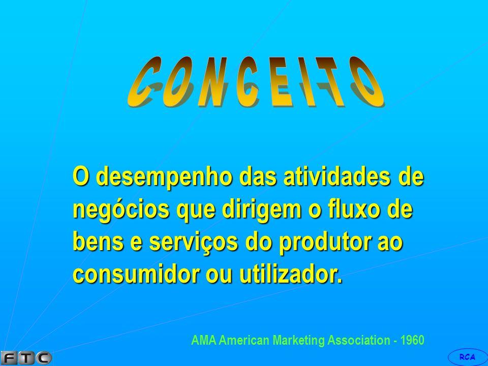 RCA Marketing, é um processo de escolha Marketing, é um processo de escolha dos mercados que se deve atuar, dos dos mercados que se deve atuar, dos produtos a oferecer, dos preços a produtos a oferecer, dos preços a cobrar, da distribuição a utilizar e das cobrar, da distribuição a utilizar e das mensagens a enviar, ou ainda...