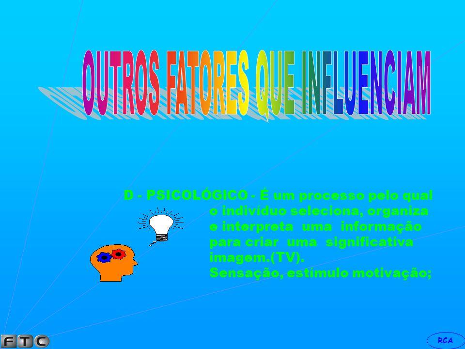 RCA C - PESSOAL - Idade, estágio (hábitos) e ciclo de vida. (aprendizagem X influência ) (leitura, audição,pensamento) Ocupação (operário, executivo )