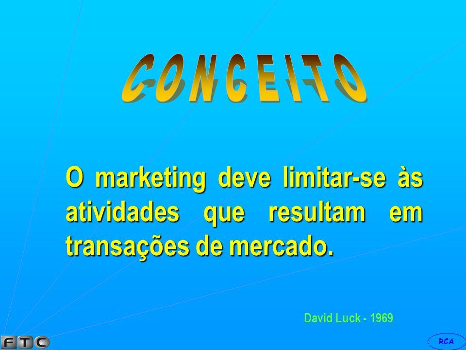 RCA William Lazer - 1969 O marketing deveria reconhecer as dimensões societais, isto é, levar em contas as mudanças verificadas nas relações sociais.