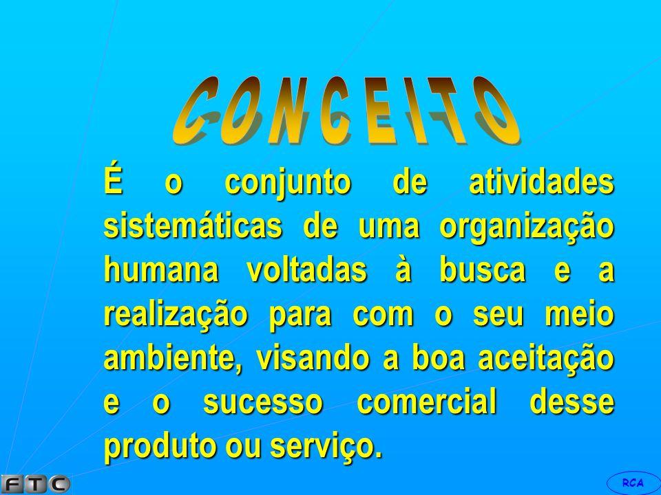 RCA É o conjunto de estudos e medidas relacionados ao lançamento de um produto ou serviço no mercado consumidor, visando a boa aceitação e o sucesso c