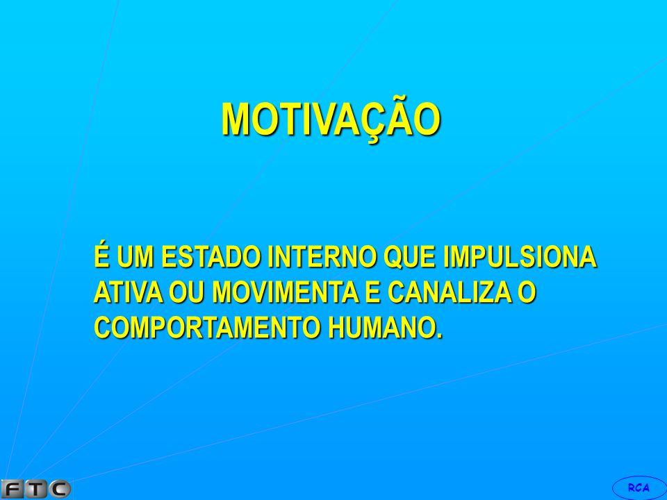 RCA É UM CONJUNTO DE FATORES CAPAZES DE PROVOCAR E DIRIGIR A CONDUTA HUMANA, RUMO A UM DETERMINADO OBJETIVO MOTIVAÇÃO