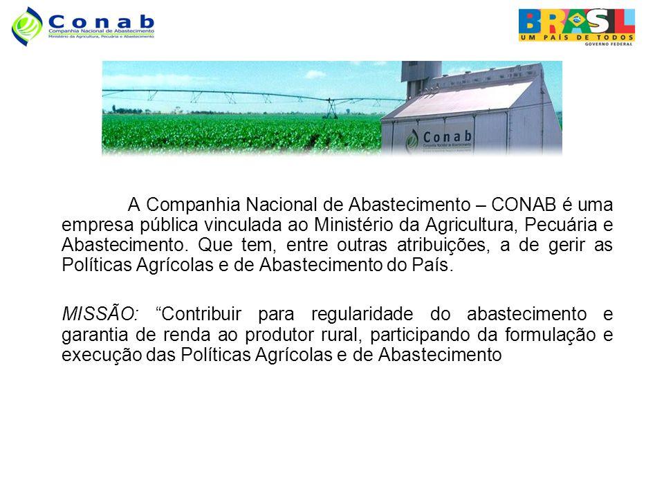 A Companhia Nacional de Abastecimento – CONAB é uma empresa pública vinculada ao Ministério da Agricultura, Pecuária e Abastecimento.