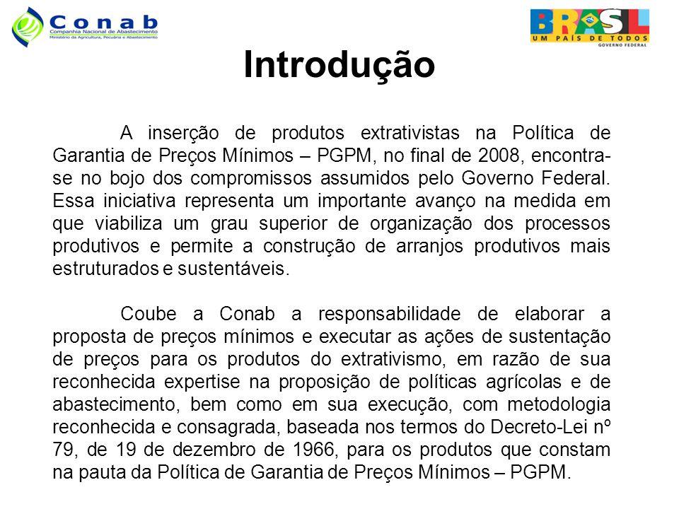 Introdução A inserção de produtos extrativistas na Política de Garantia de Preços Mínimos – PGPM, no final de 2008, encontra- se no bojo dos compromissos assumidos pelo Governo Federal.