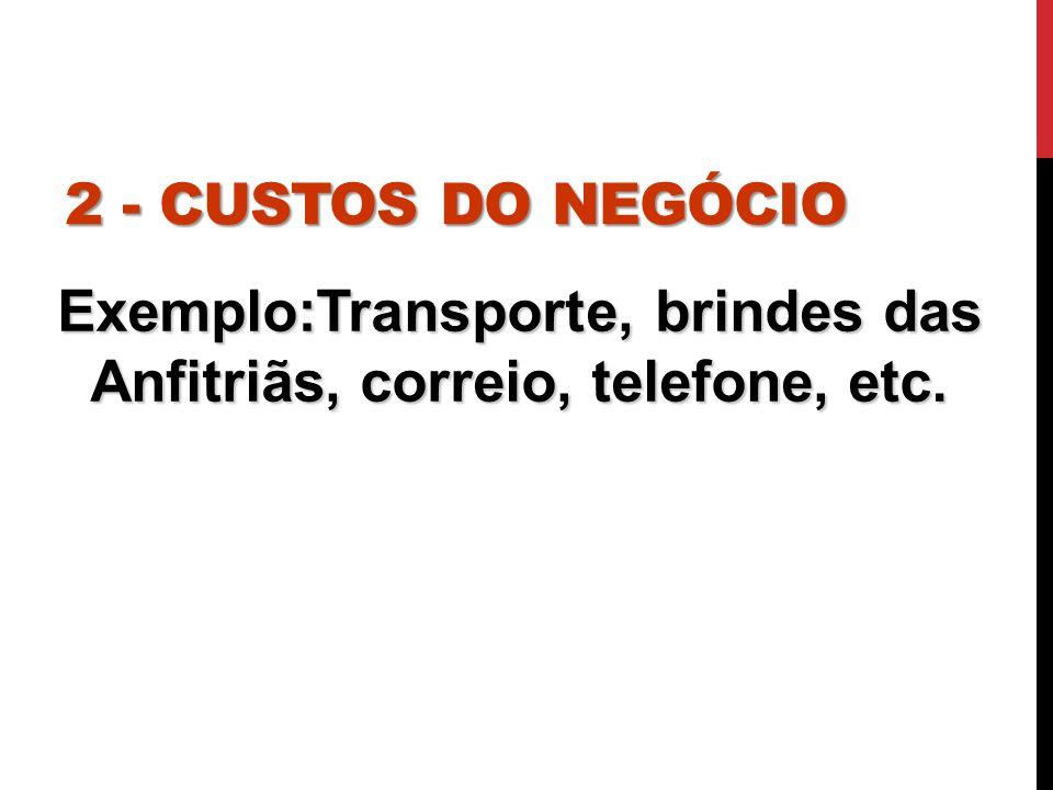 2 - CUSTOS DO NEGÓCIO Exemplo:Transporte, brindes das Anfitriãs, correio, telefone, etc.