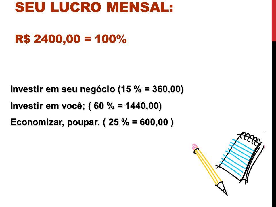 SUGESTÕES DE COMO APLICAR SEU LUCRO MENSAL: R$ 2400,00 = 100% Investir em seu negócio (15 % = 360,00) Investir em você; ( 60 % = 1440,00) Economizar,