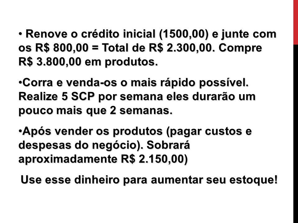 O Início Renove o crédito inicial (1500,00) e junte com os R$ 800,00 = Total de R$ 2.300,00. Compre R$ 3.800,00 em produtos. Renove o crédito inicial