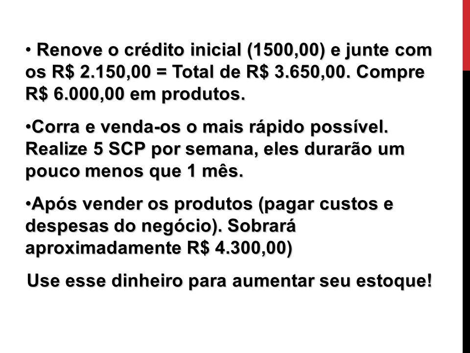 O Início Renove o crédito inicial (1500,00) e junte com os R$ 2.150,00 = Total de R$ 3.650,00. Compre R$ 6.000,00 em produtos. Corra e venda-os o mais