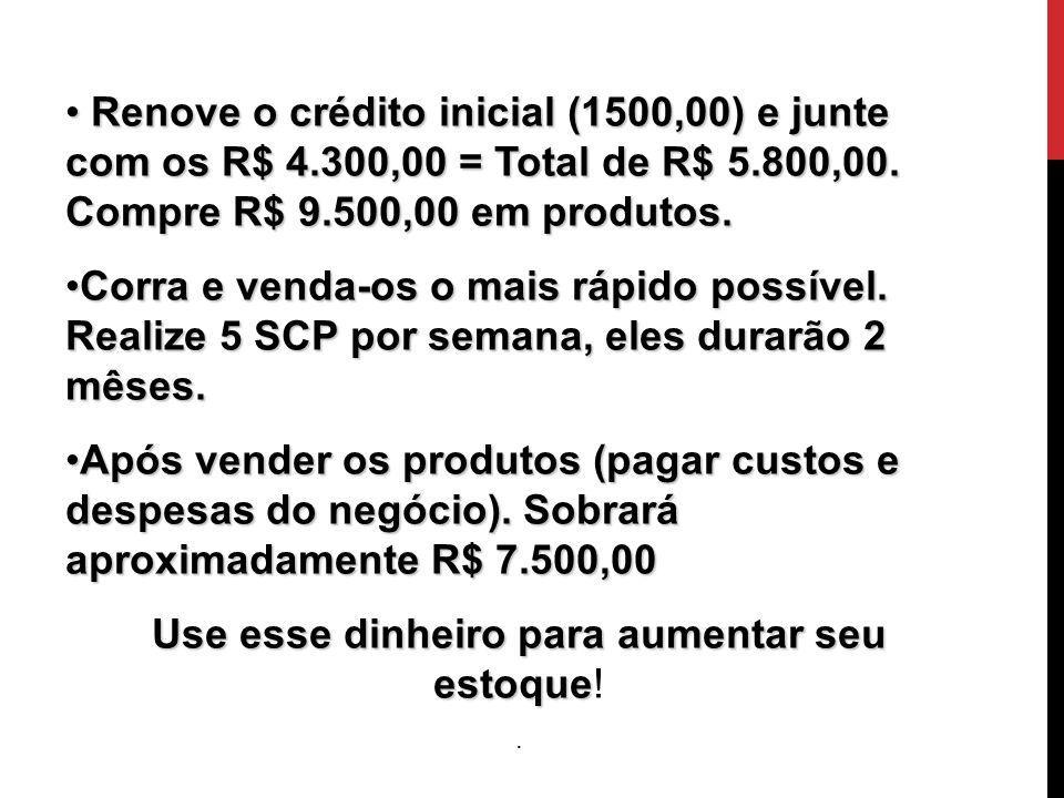 O Início Renove o crédito inicial (1500,00) e junte com os R$ 4.300,00 = Total de R$ 5.800,00. Compre R$ 9.500,00 em produtos. Renove o crédito inicia