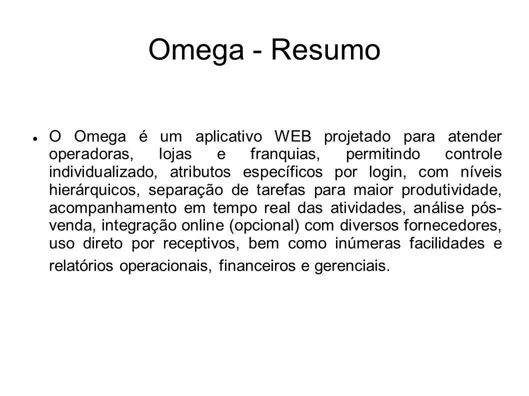 Omega - Resumo O Omega é um aplicativo WEB projetado para atender operadoras, lojas e franquias, permitindo controle individualizado, atributos especí
