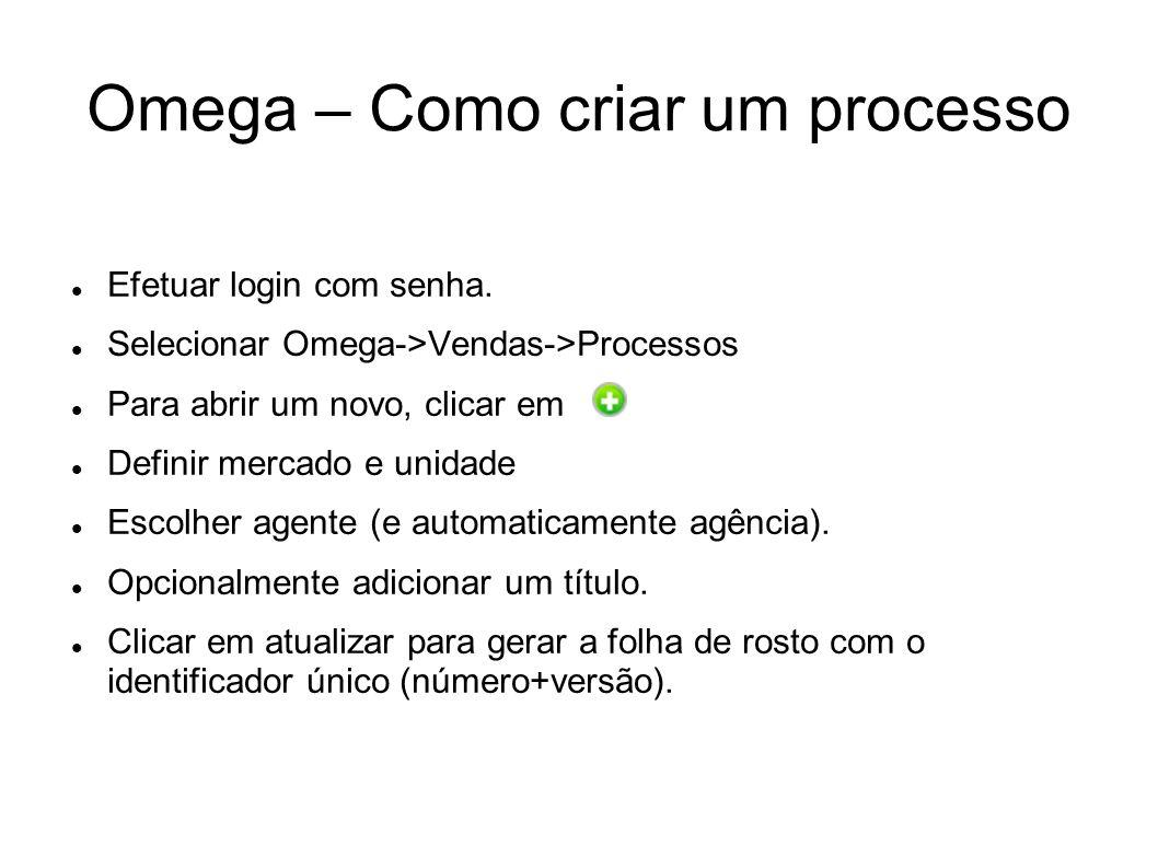 Omega – Como criar um processo Efetuar login com senha. Selecionar Omega->Vendas->Processos Para abrir um novo, clicar em Definir mercado e unidade Es