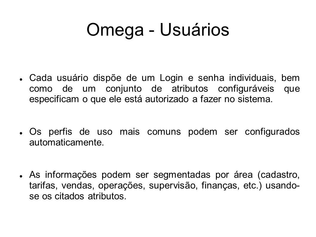 Omega - Usuários Cada usuário dispõe de um Login e senha individuais, bem como de um conjunto de atributos configuráveis que especificam o que ele est