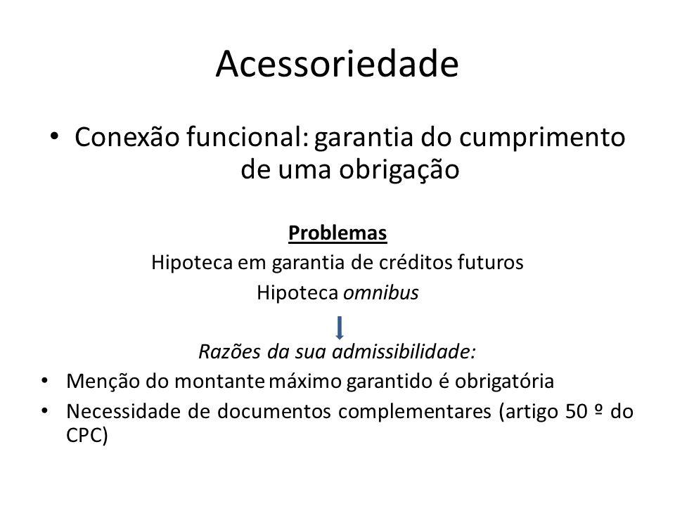 Acessoriedade Conexão funcional: garantia do cumprimento de uma obrigação Problemas Hipoteca em garantia de créditos futuros Hipoteca omnibus Razões d